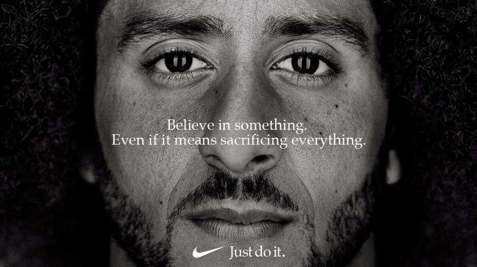 FILE PHOTO: Former San Francisco quarterback Colin Kaepernick appears as a face of Nike Inc advertisement marking the 30th anniversary of its
