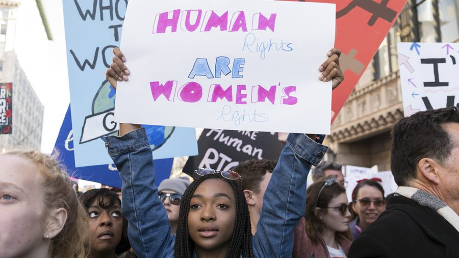 LOS ANGELES, CA - JANUARY 20:  An activist participates in the Women