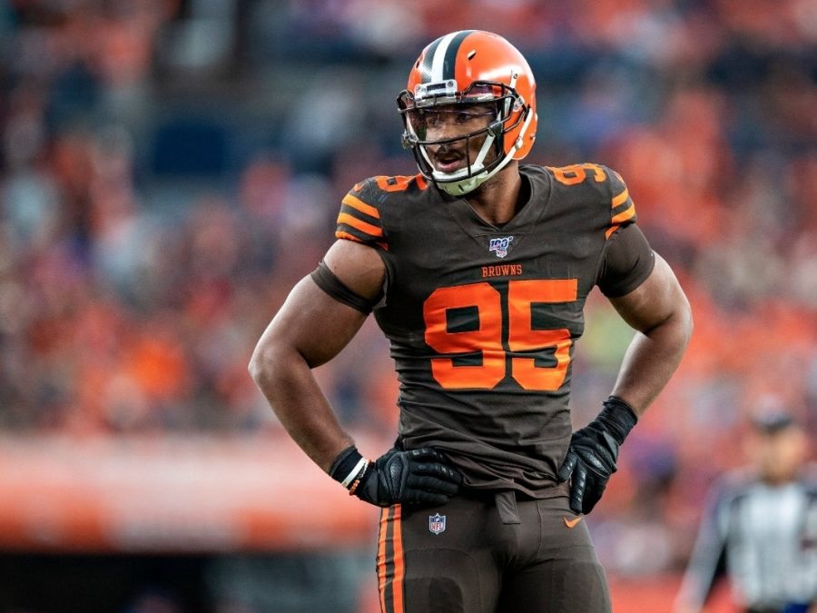 Myles+Garrett+of+the+Cleveland+Browns+Tests+Positive+for+Covid-19